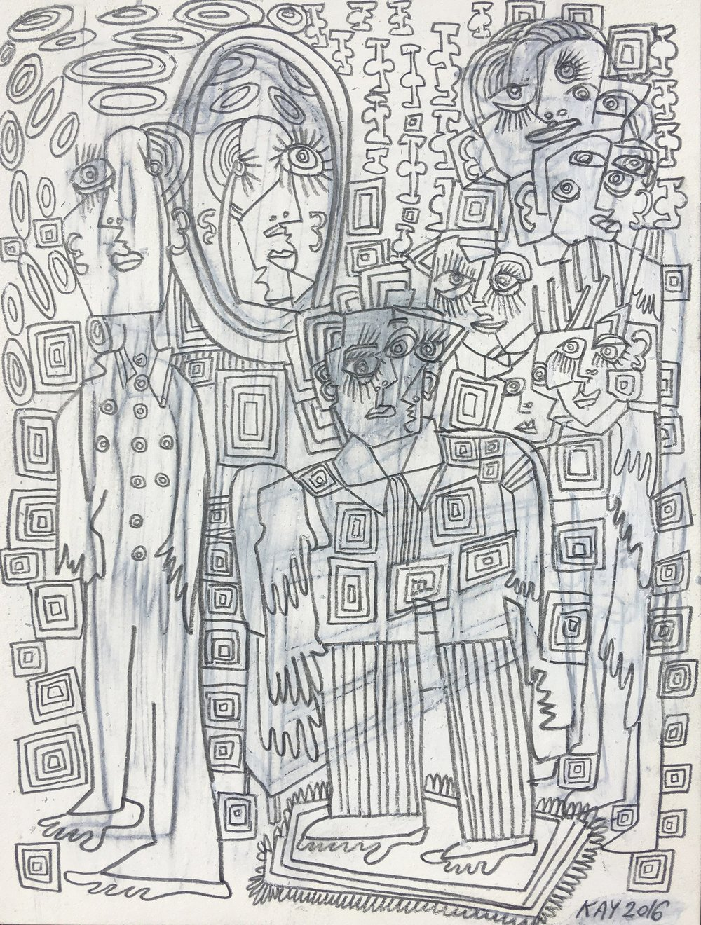 OIL DRAWING 35 - WILL KAY$350This drawing is from my series of oil and pencil on paper. Common themes mused upon are figures, animals, plants, music, asymmetry and rhythm. description: oil and pencil on paper, 6