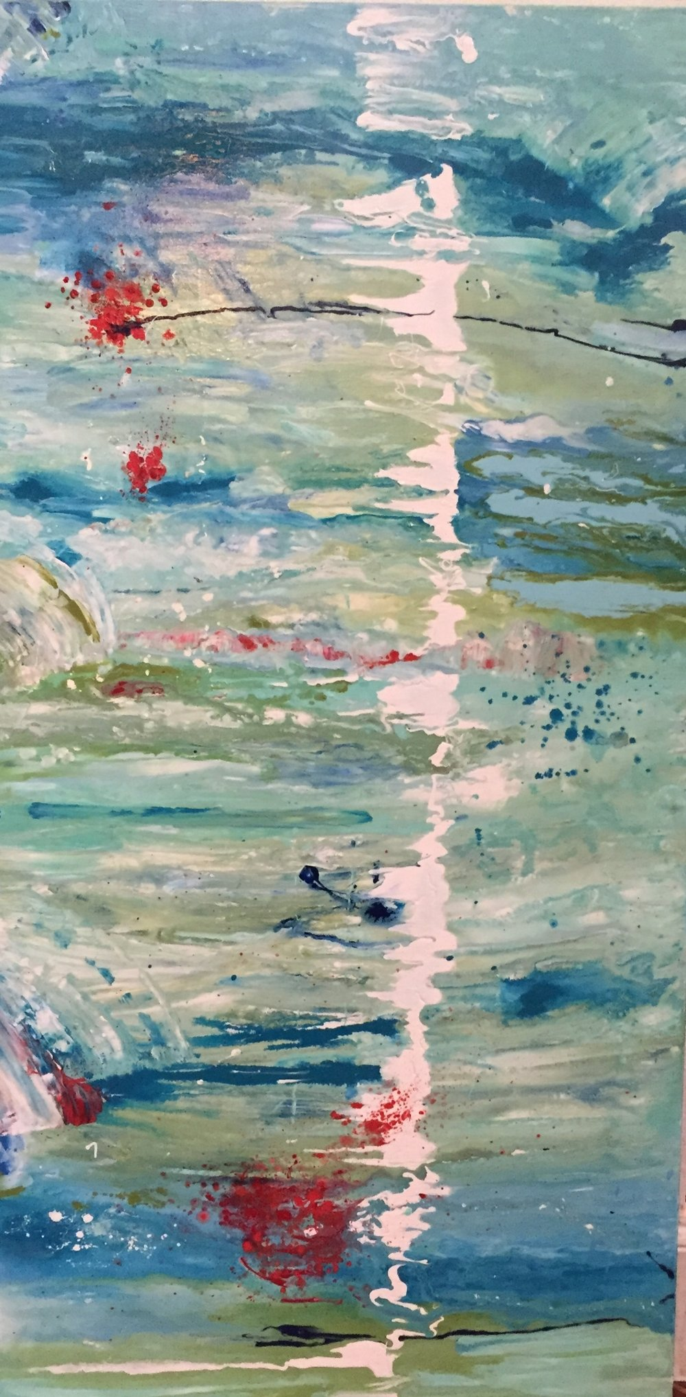 "Wave Splash 48"" x 24"" X 1.5 acrylic on canvas Available"