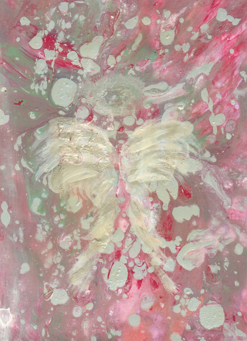 "Confetti Wings 8"" x 10"" acrylic on paper Sold"