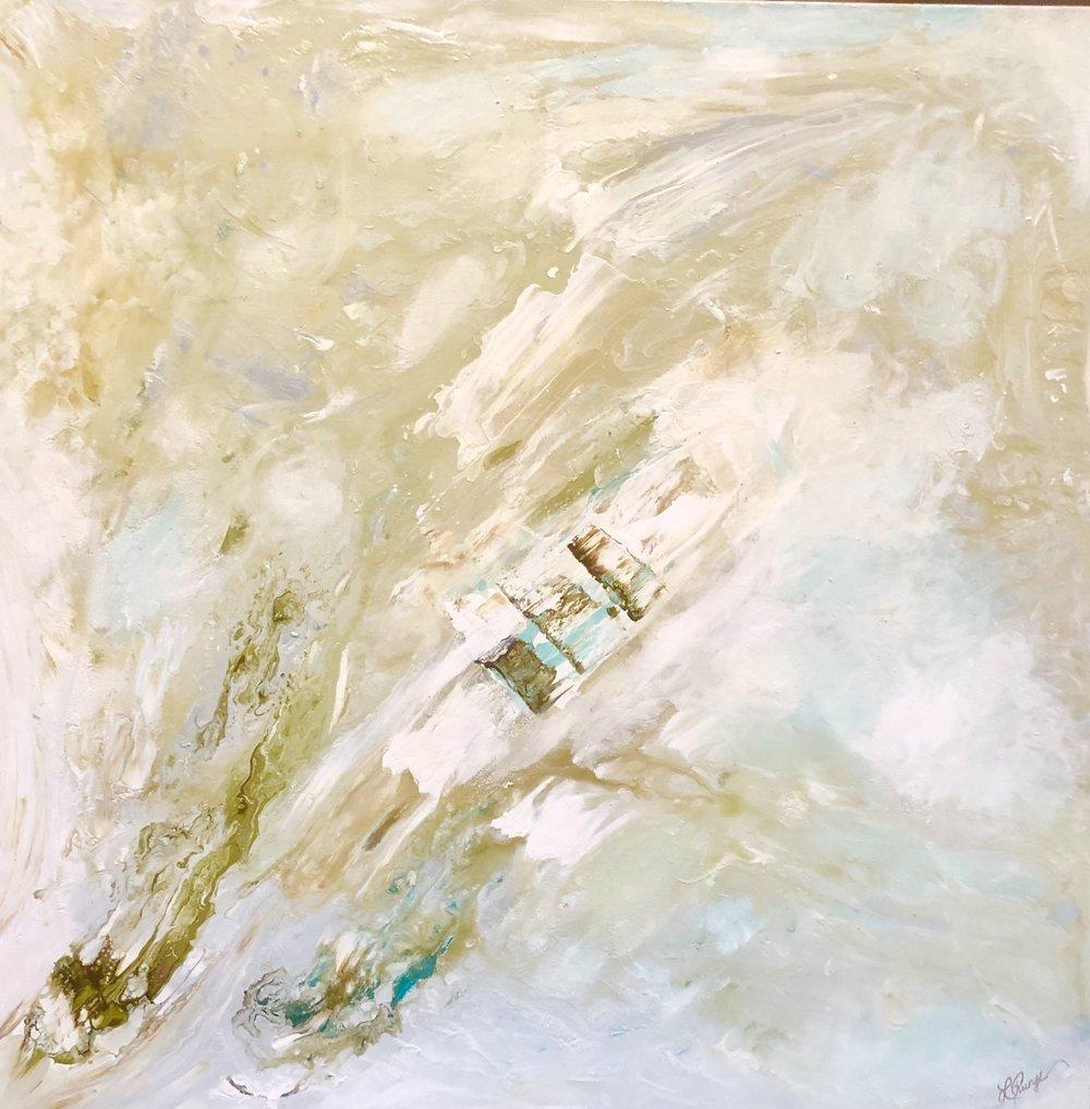 """Beach Stroll 36"""" x 36"""" x 1.5"""" acrylic on canvas $1,100 Available"""