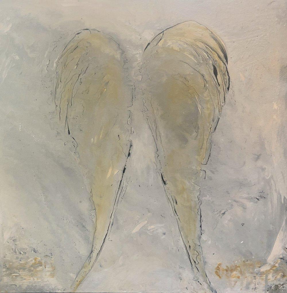 "Angel Whisper 36"" x 36"" x 1.5"" acrylic on canvas $1,100 Available"