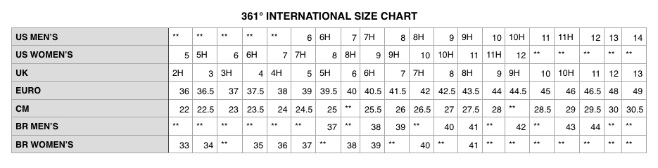 Degrees Footwear Size Chart