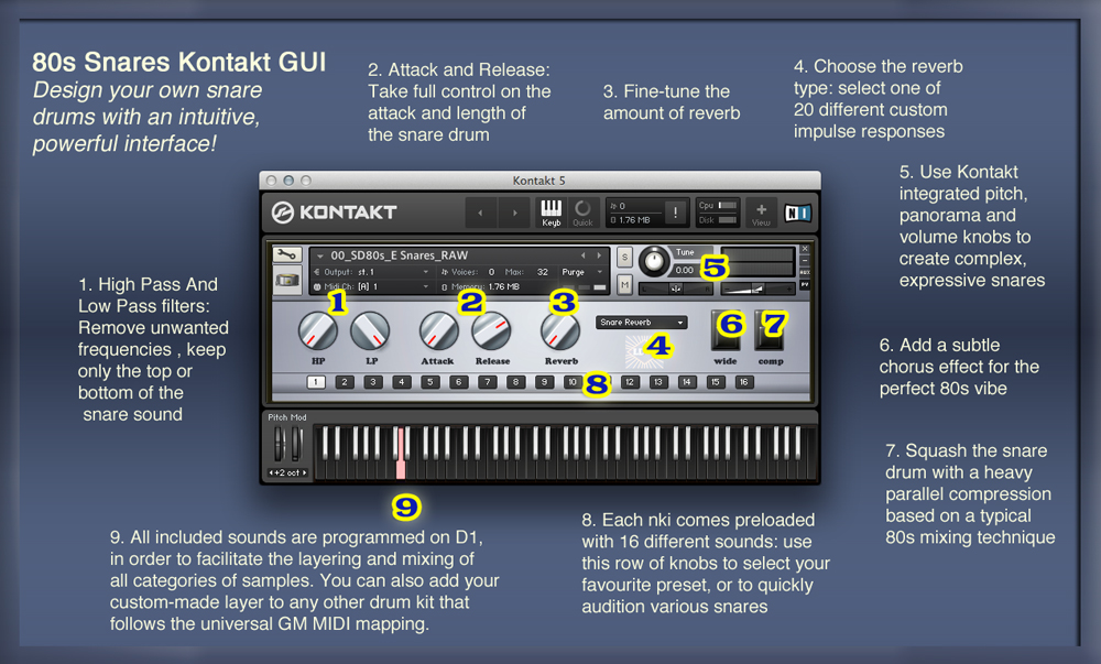 The Kontakt user interface provides quick access to all sounds and simple, intuitive controls to transform and combine them.