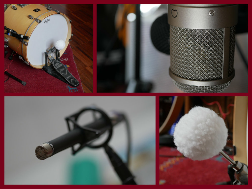 Microphones used: Beyer M88, Neumann U47fet, EV RE15, AKG D112, pair of DPA 4006, Beyer M201, custom-made piezo (contact) microphone