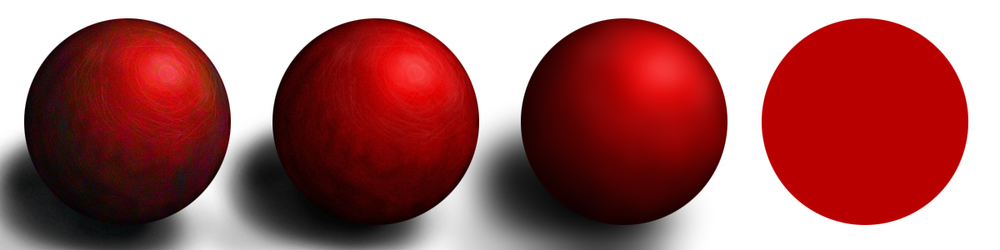 From right to left: simplest red ball; with shading; with shading detail; with hue variation. Copyright 2014 Lauren Ellenberg