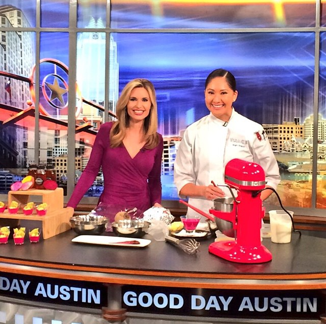 Chef Angel demoing a recipe on Good Day Austin