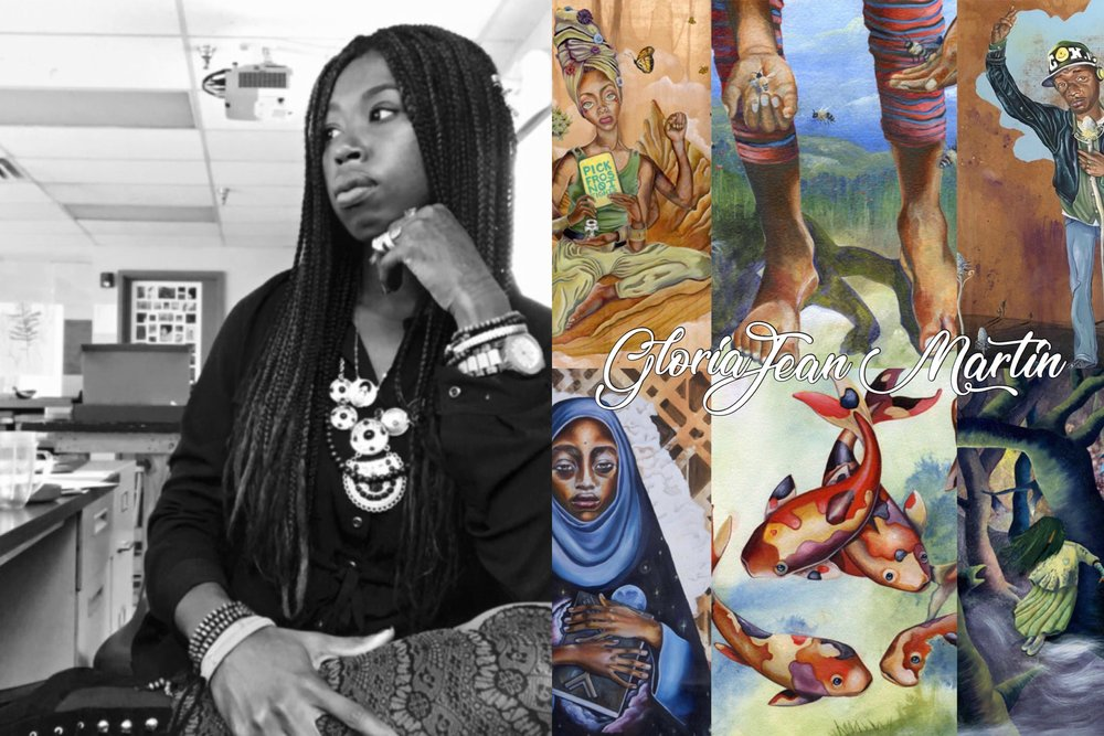 GloriaJean Martin - GloriaJean was born and raised in Harrisburg, PA and currently resides in Philadelphia. She received her BFA in Illustration in 2009 and later, a Master's in Art Education at Moore College of Art Design. GloriaJean's goal is to help heal, educate, inspire, and to create work from a place of gratitude and self forgiveness. Her work is reminiscent of her thoughts and experiences which she explores through intersections of nature, humanity, and spirituality. Her artistic practice seeks to offer healing by highlighting themes of spirituality in nature. Intrinsically, she believes all are connected to nature. Her work draws on symbolic meanings for the mission of self discovery and collective healing. GloriaJean examines feelings of oppression and how knowledge of self, nature, and symbols can combat self-inflicted and or external pain.