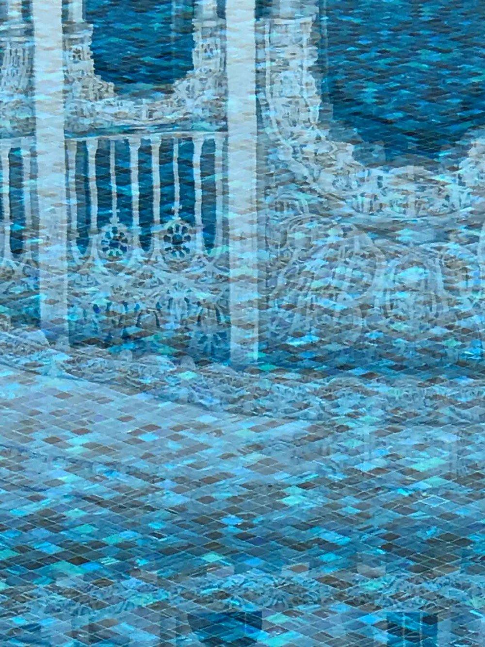 Baha'i water garden reflection.