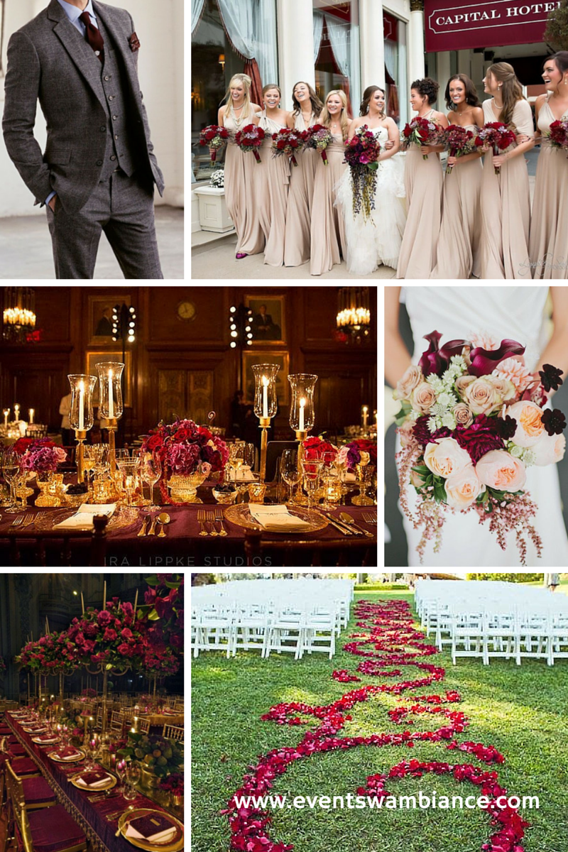 Wedspiration Wednesday- Burgundy and Gold — Events With Ambiance ...