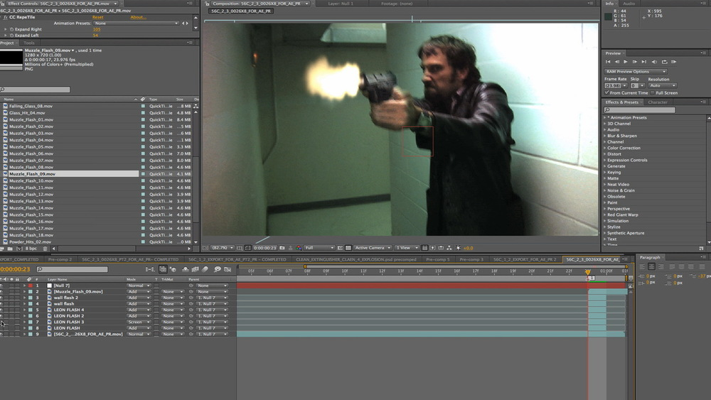 Screen grab from Ken's After Effects timeline of Leon Bearman