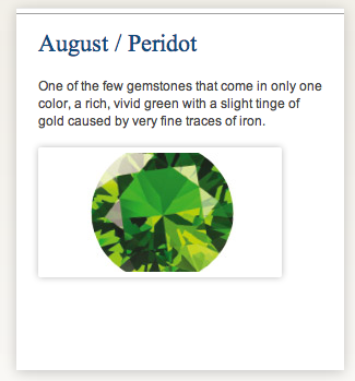 Home page features a rotation of birthstones by month. Month auto updates with content making website look current.