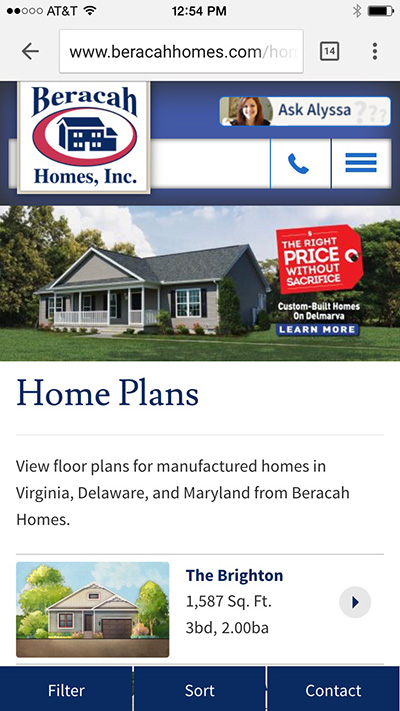 Phone Home Page Focused on Searching Home Plans