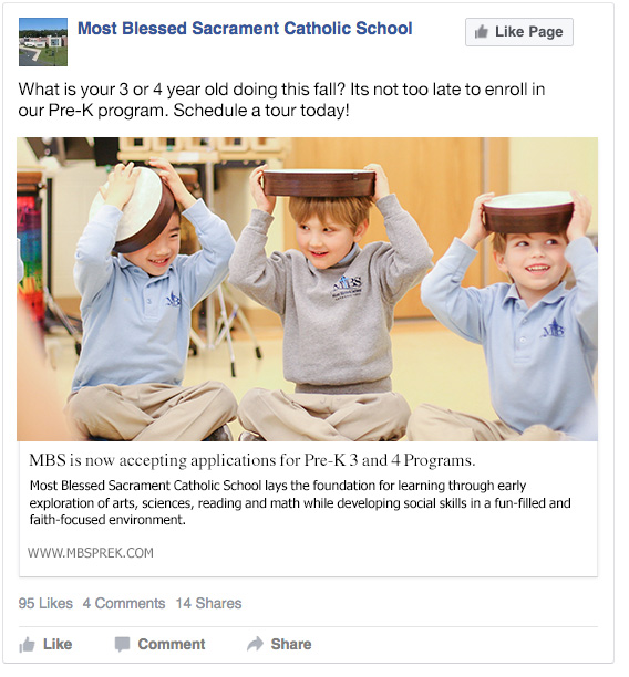 Sample Facebook Ad - Most Blessed Sacrament Catholic School