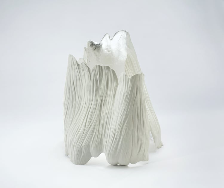 Alissa Coe Hand sculpted and carved porcelain sculpture with silver leaf