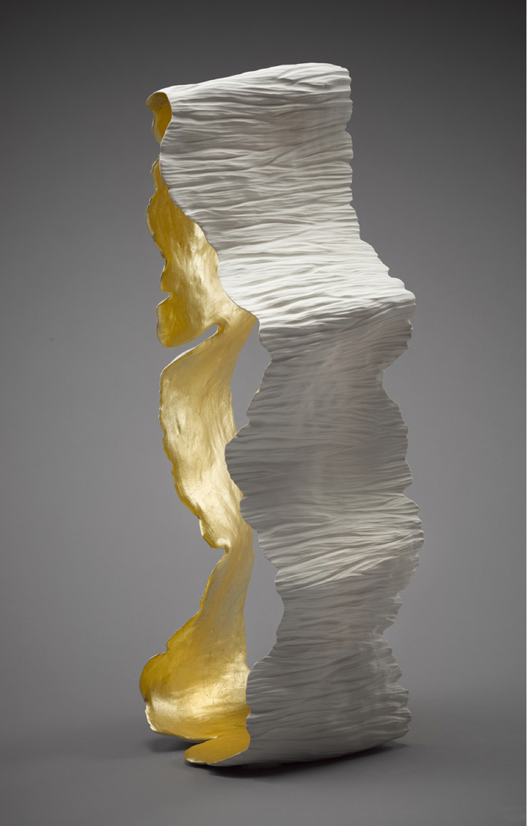 Alissa Coe PARKLAND RESIDENCES - Singapore Hand sculpted and carved porcelain sculpture with gold leaf  - for James Robertson Art Consultants