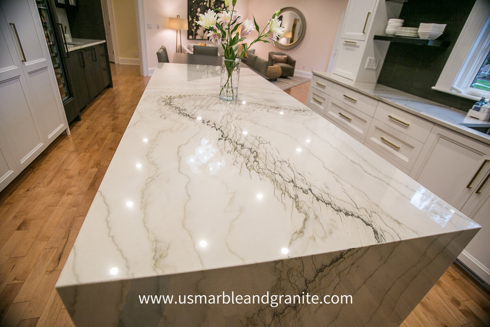 US Marble & Granite fabricated & installed this beautiful Marble kitchen counter top in Springfield, IL.  We have hundreds of colors for you to choose from.  We also have a huge selection of remnants.  Come see the best at US Marble & Granite.