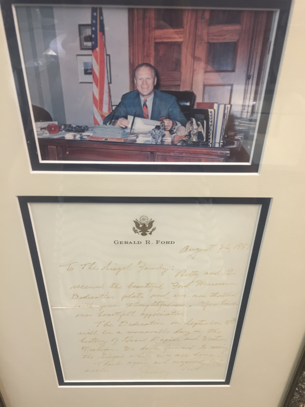 Thank you and good wishes letter from President Gerald R. Ford