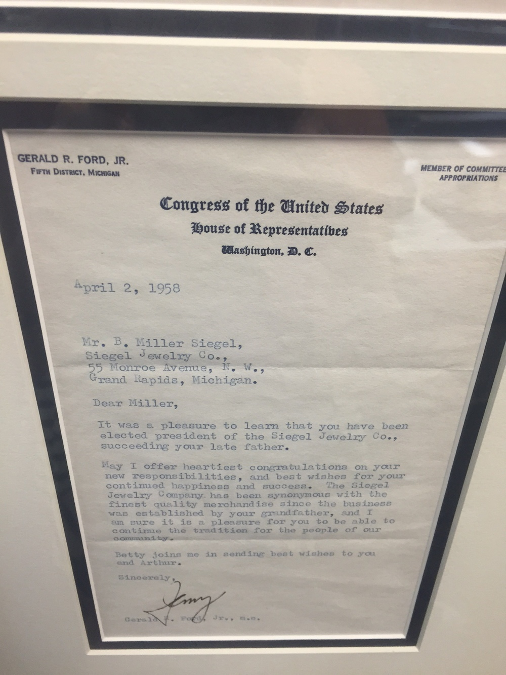 Letter from Gerald R. Ford congratulating Miller for taking over the store in 1958