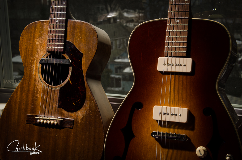 A pair of 1962 Guild M-20's!!!!  Well, sort of.  The one on the left is an original M-20 and the right one is an electric conversion.  Details on the conversion below:     http://www.chubbuckguitars.com/blog/2012/04/23/1962-guild-m-20-conversion