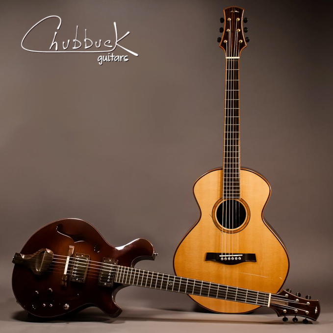 Older promo photo ::   Mousa 001 (hollowbody  ) &    Rogue 003 (steel string acoustic)   .
