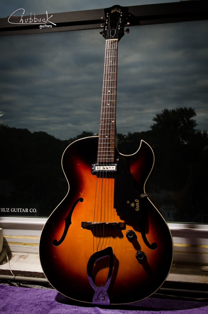 1967 Guild T-100 :: setup.  Man I love these old 60's Guild hollowbodies!