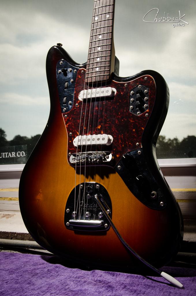 1996-97 Japanese Fender Jaguar :: Mastery bridge conversion from a previous Tuneomatic bridge modification.