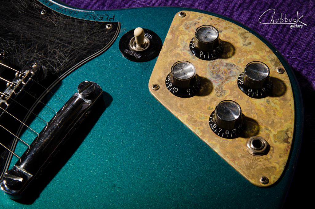 2001 Gibson SG :: custom patina'd brass control plate repair for a broken lower bout and output jack mount.