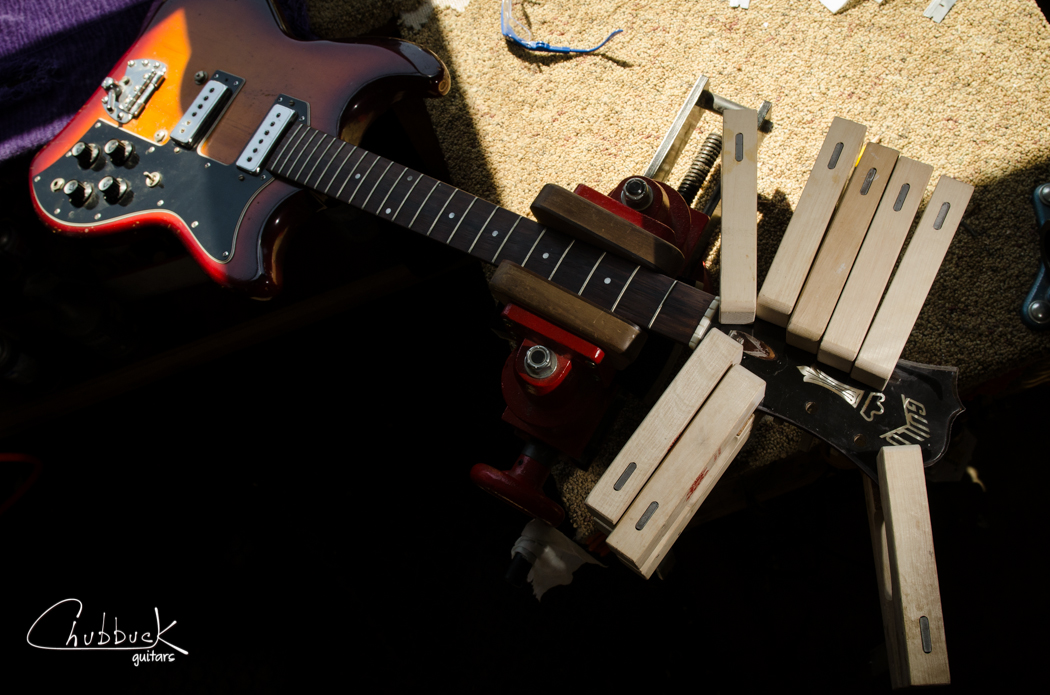 Late 1960's Guild S-200 Thunderbird :: headstock overlay delamination repair.