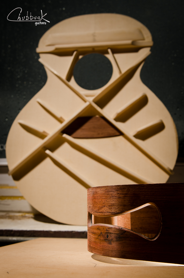"New Chubbuck jumbo ""Kalliope"" acoustic :: soundport  The soundport is finished and the top is waiting to be carved."