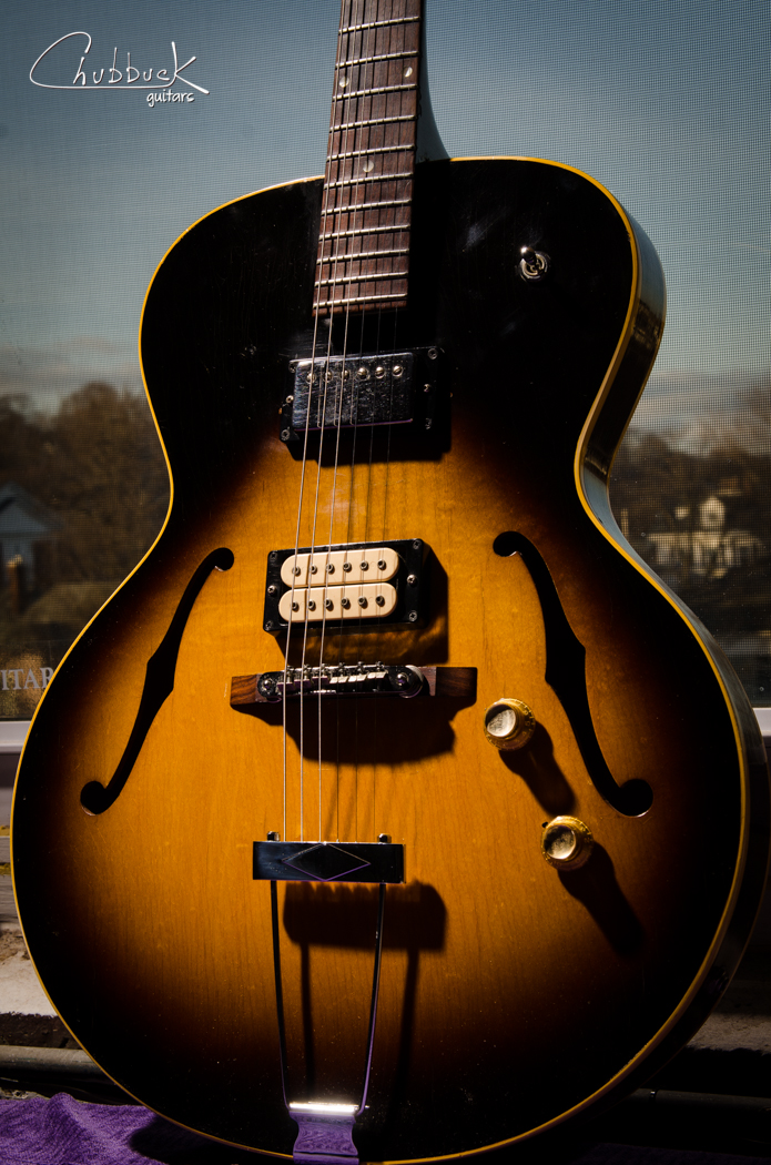 1965/69 Gibson ES-125T :: non-original bridge fit / adjusted for neck set, pickup mounts improved, upper strap button internal reinforcement block fit / installed and set up. The ES-125T is originally equipped with a single P-90.  At some point the guitar was modified for dual humbuckers and a 3-way switch.  The neck pickup's rear mounting ring screws fell into the pickup rout.  Maple blocks were fit to give these screws a solid mounting point.  The bridge top was previously swapped for a tune-o-matic with the adjustment wheels removed in an attempt to lower the action.  I refit the bridge foot and planed down the top of the foot to give more range to adjust the action.  Adjustment wheels were also added.  See the included links above for work-in-progress photos.
