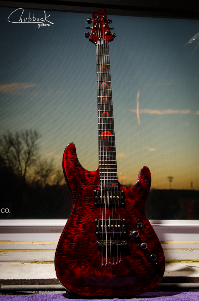 2009 Schecter Blood Moon :: replaced Seymour Duncan Slash pickups with Bare Knuckle Mississippi Queen humbucker-sized P90's.