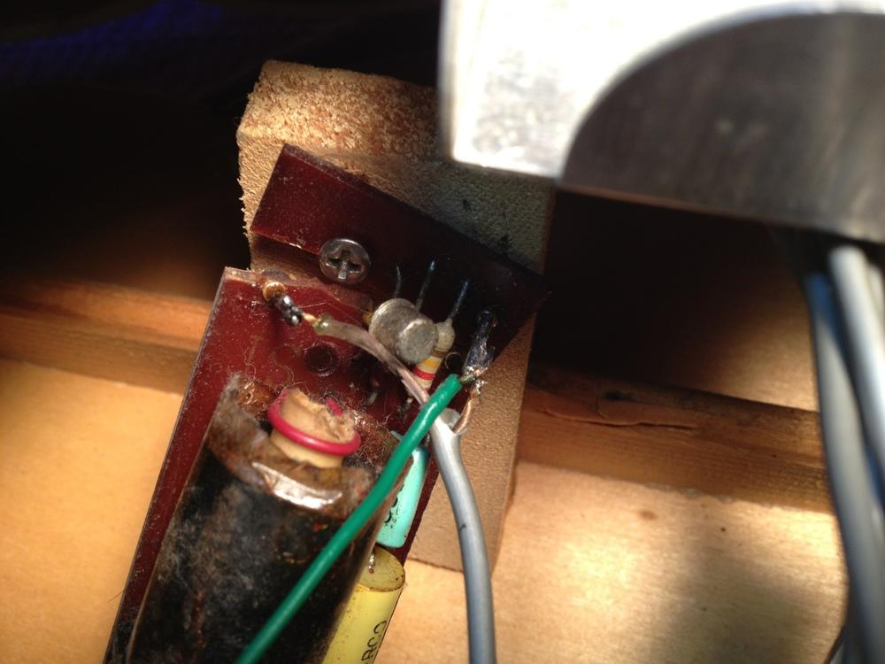 "Broken ""E tuner"" oscillator circuit board."