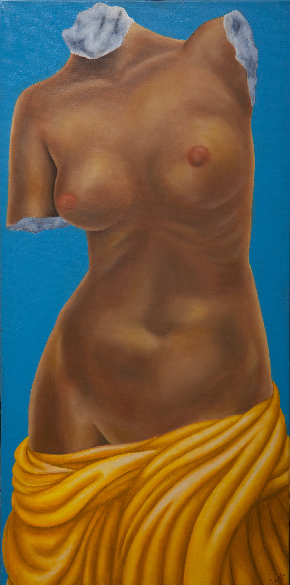 Venus de Milo Torso   oil on canvas  48 x 8 inches  2011