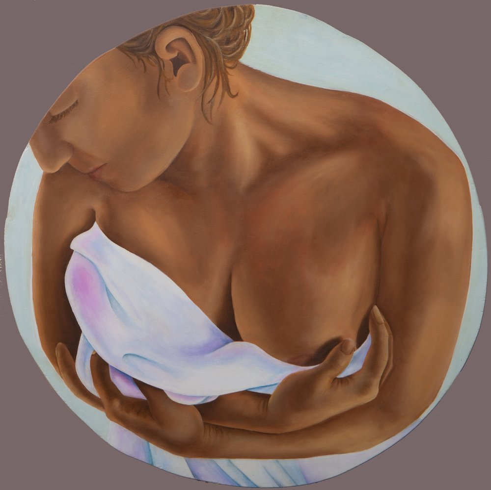 Self Embrace   oil on wood panel  18 inches  2011