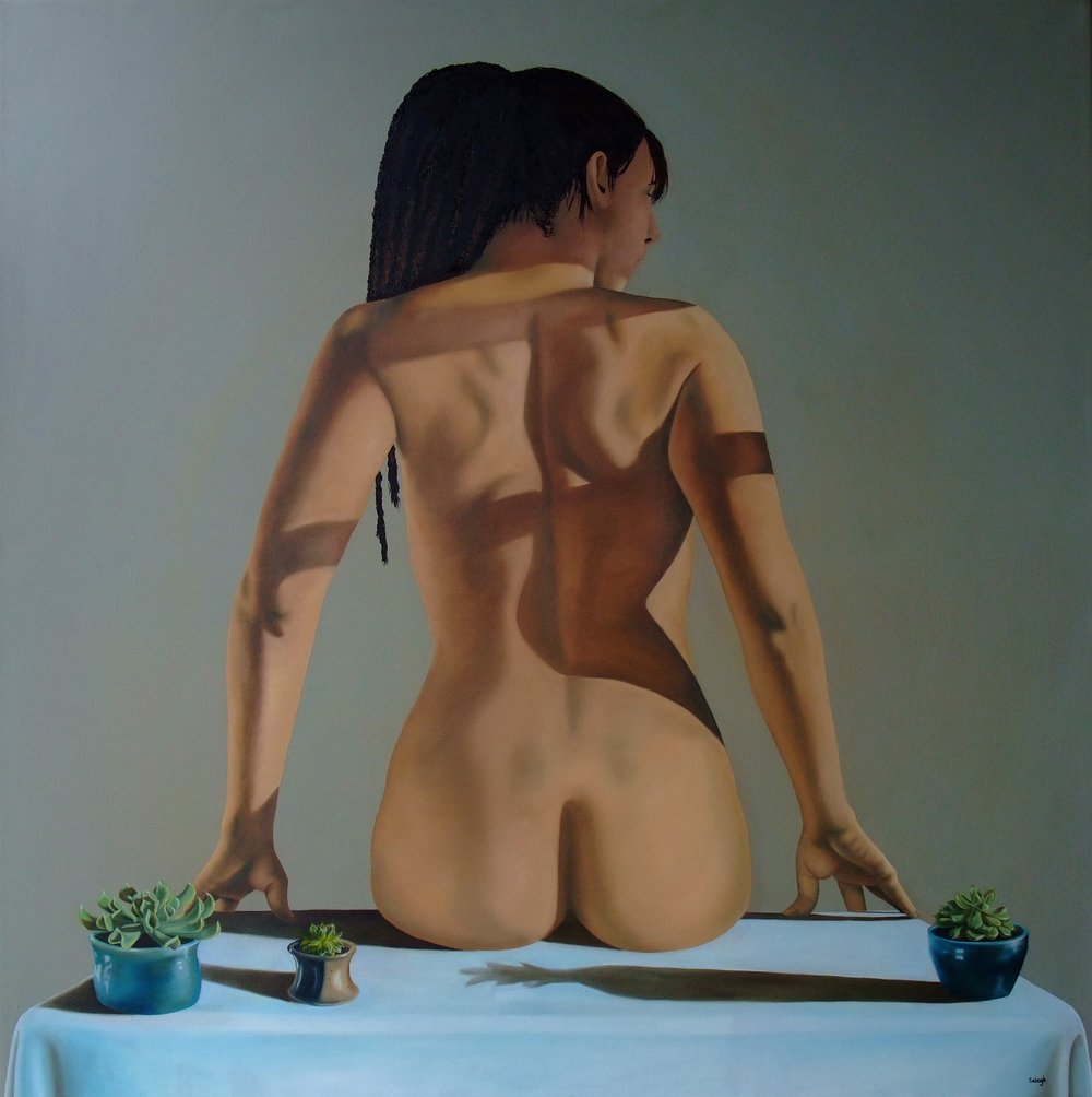 Tabletop Succulents   oil on canvas  50 x 50 inches  2013