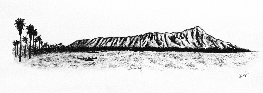 My drawing of more of a classic pre-settlement Diamond Head Crater with canoe surfers in the water