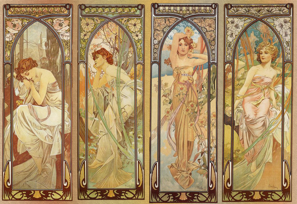 Mucha did a lot of four-panel series, like this one illustrating the different times of day.