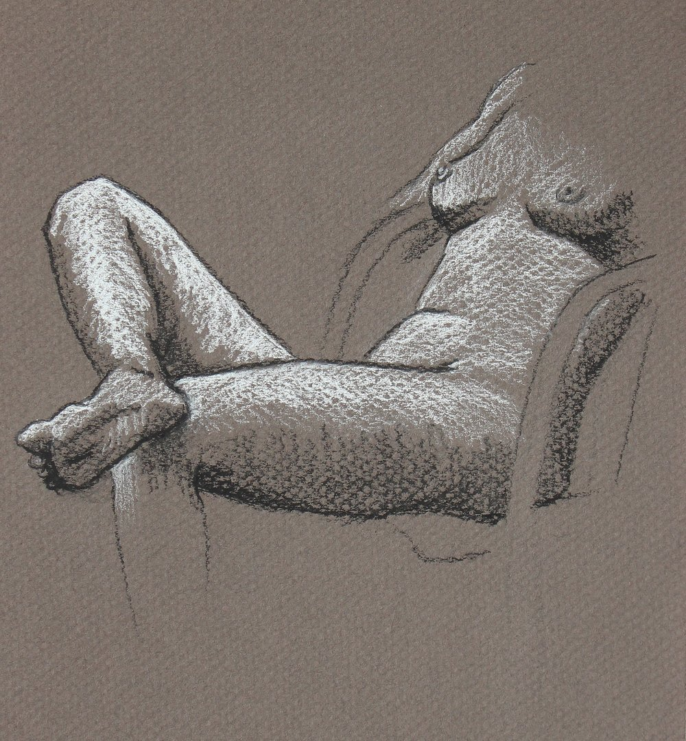 charcoal drawing of a nude lounging woman