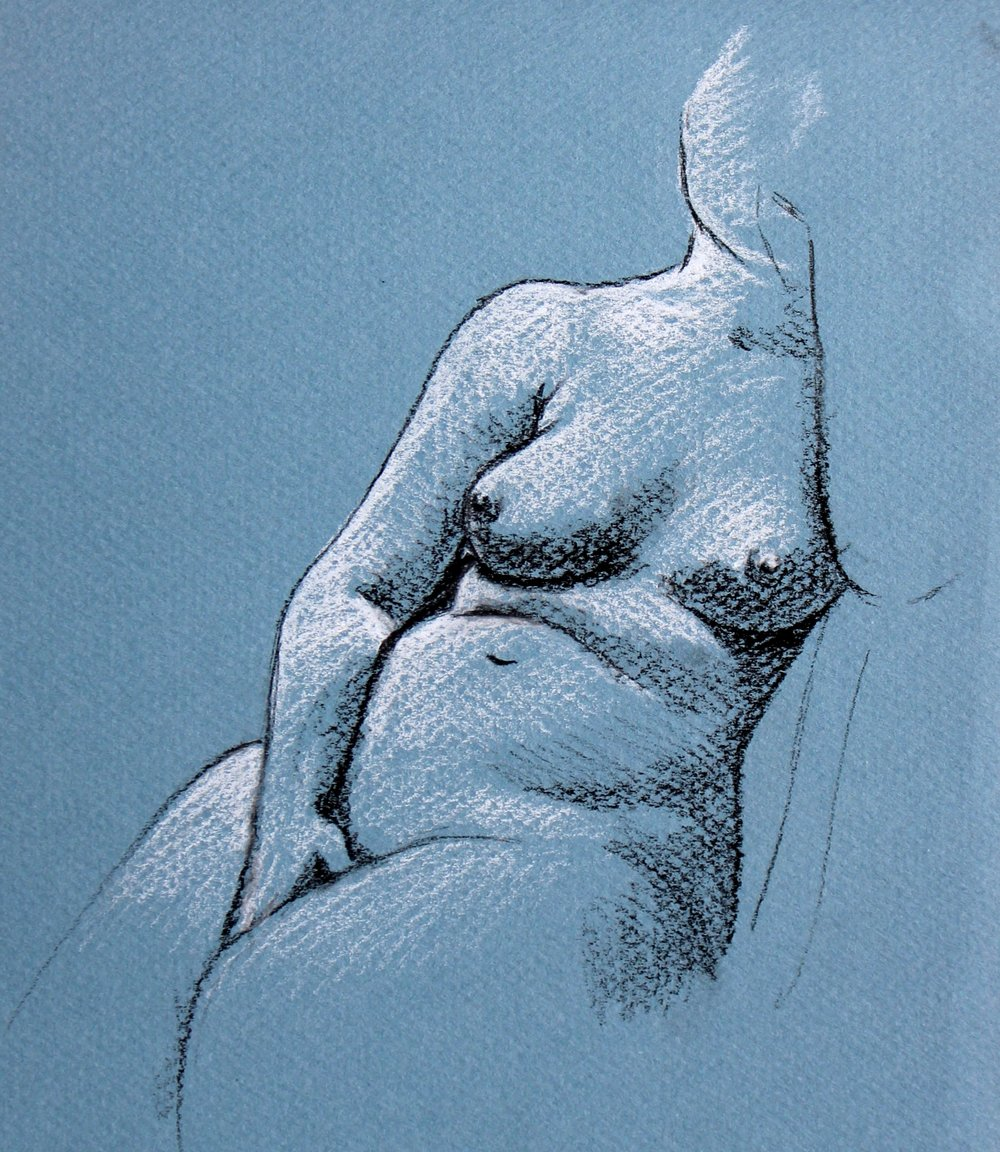 nude charcoal drawing of a seated woman