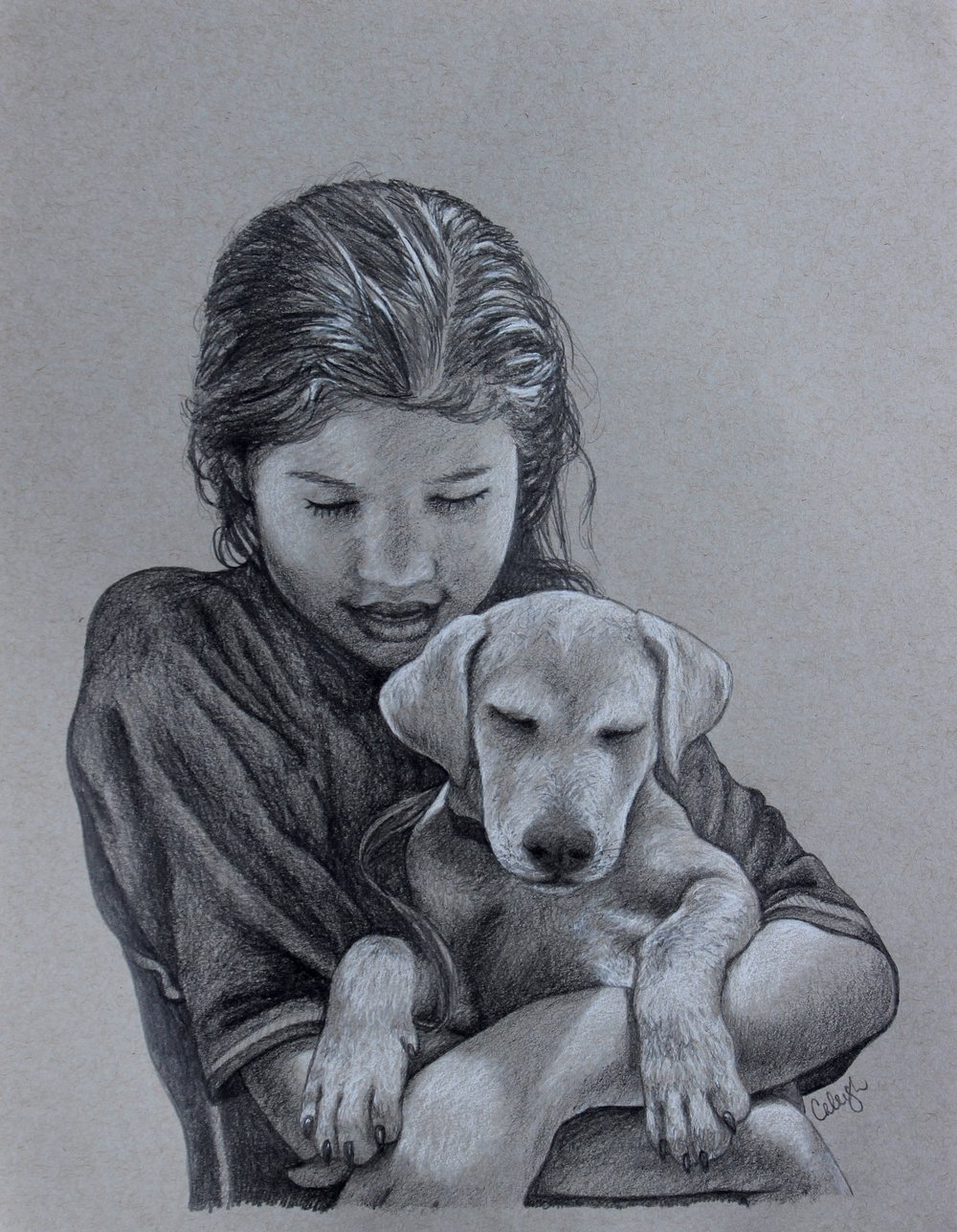 adorable dog drawing in pencil with a cute girl