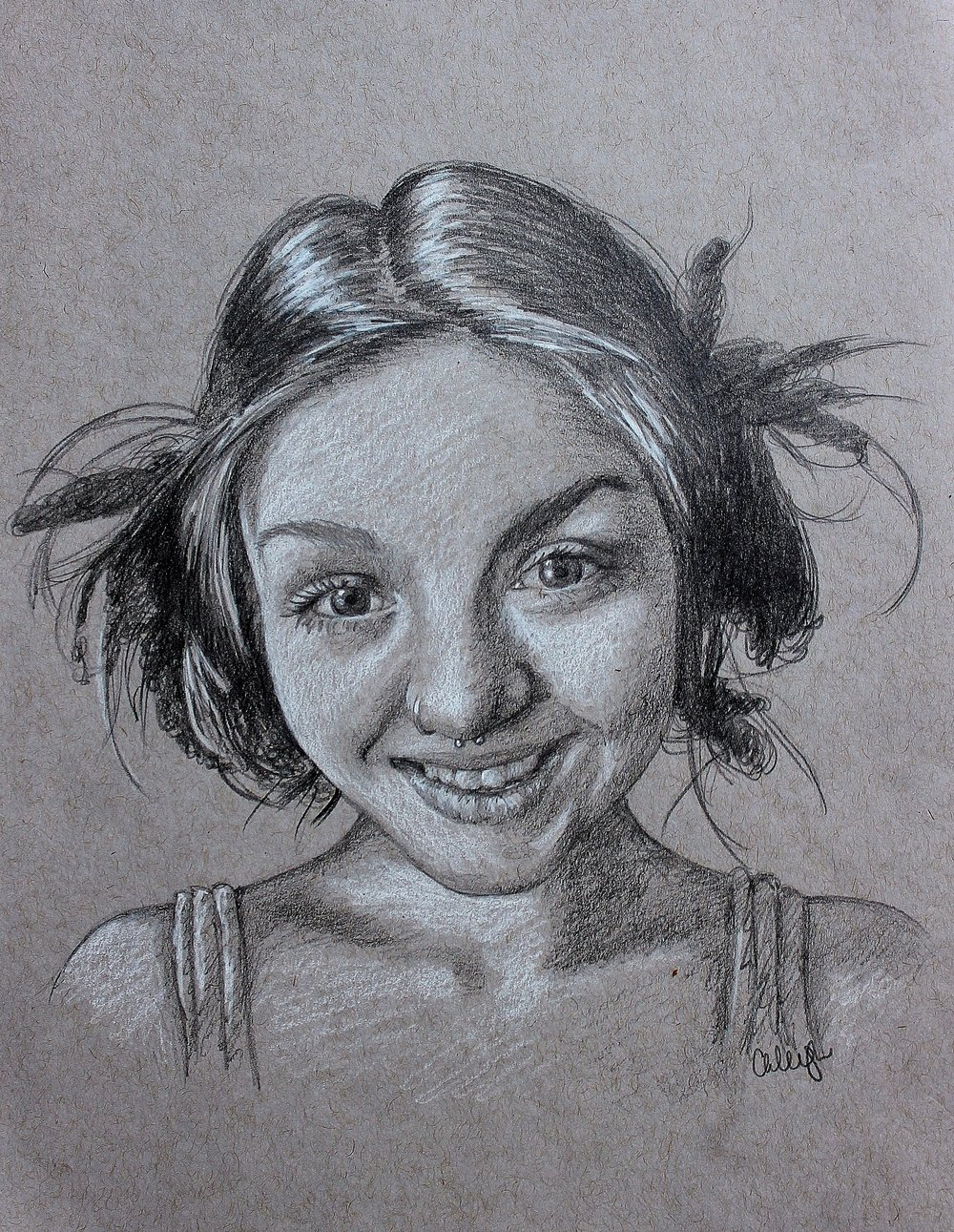 drawing in pencil of a cute girl in pigtails