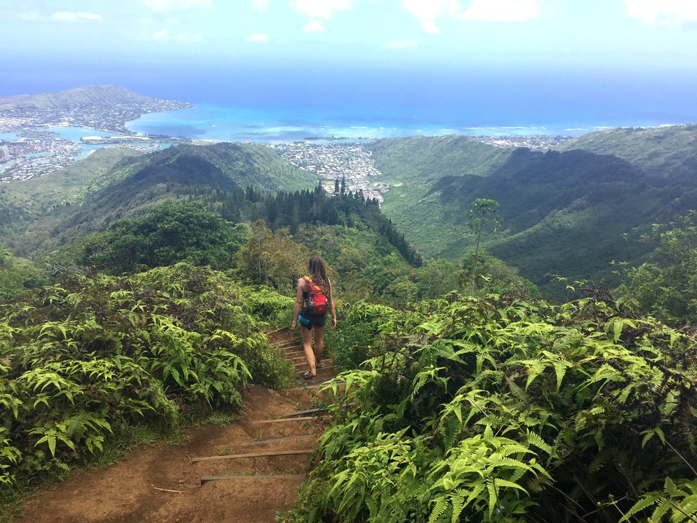 Overlooking Hawai'i Kai on the left and the very end of Waikiki Beach on the far right during the descent. We could see the entire East side of O'ahu during this fantastic hike.