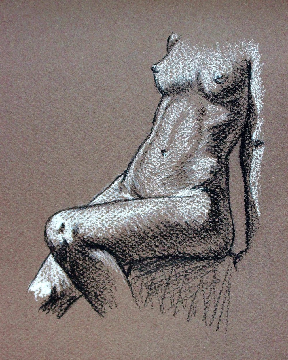nude figure drawing in charcoal