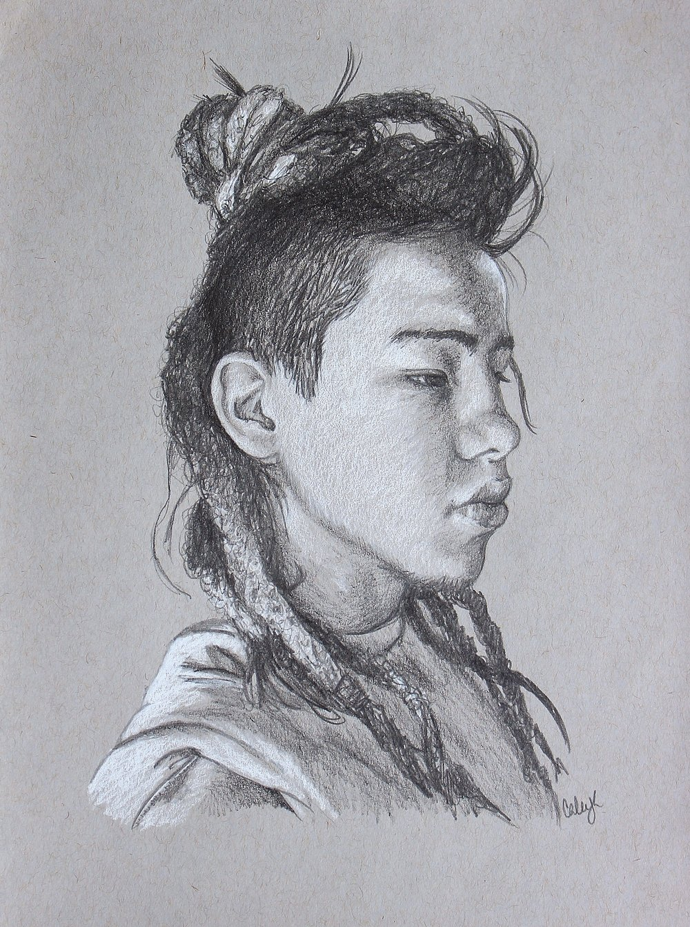 drawing of a dreadlocked asian boy