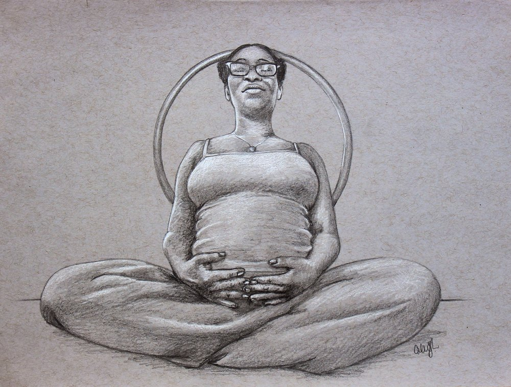pregnancy portrait drawing in pencil