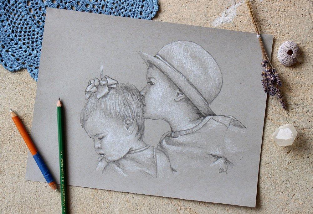 pencil childrens portraiture