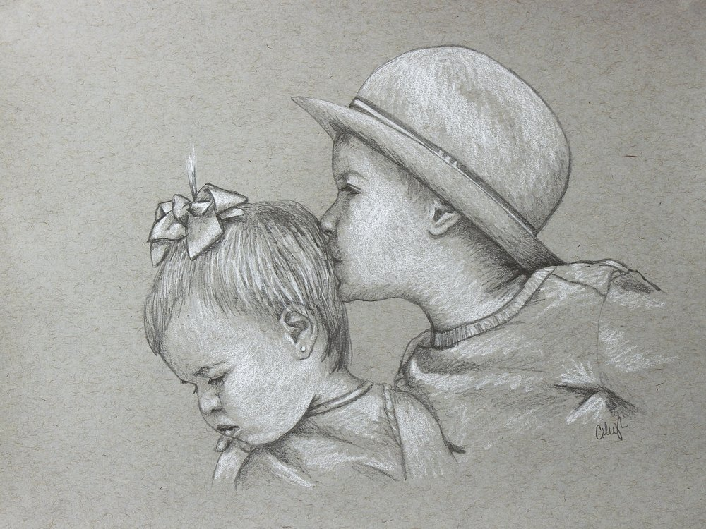 child portrait drawing in pencil