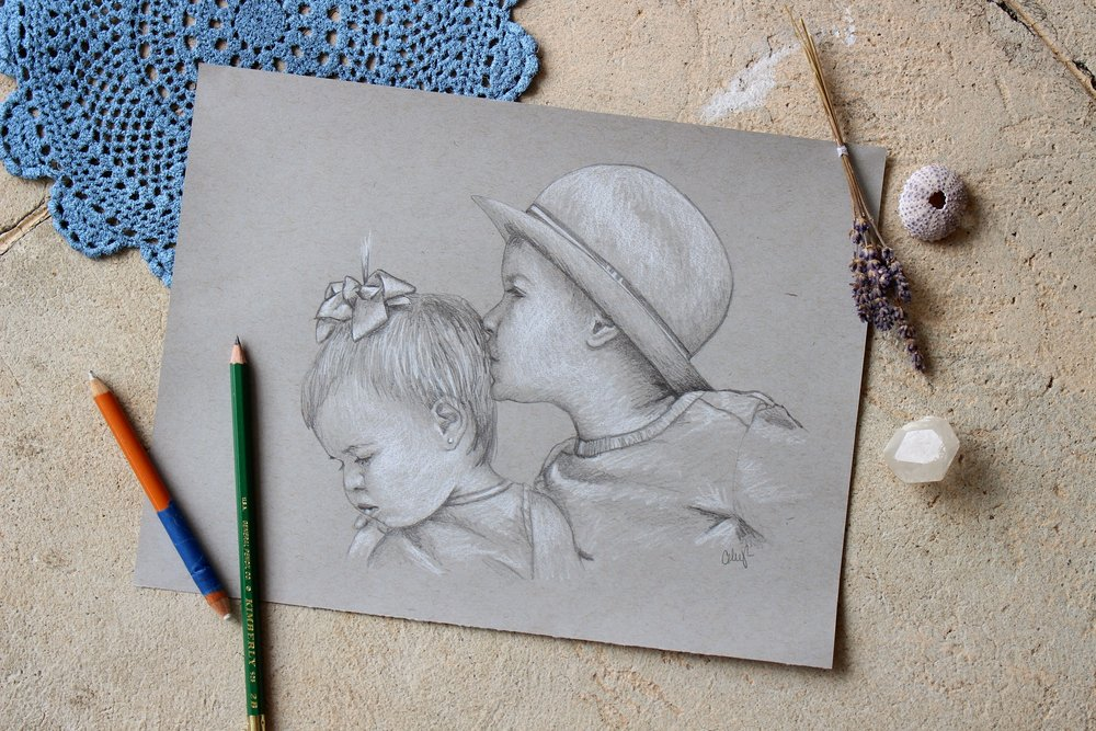 childrens pencil portrait