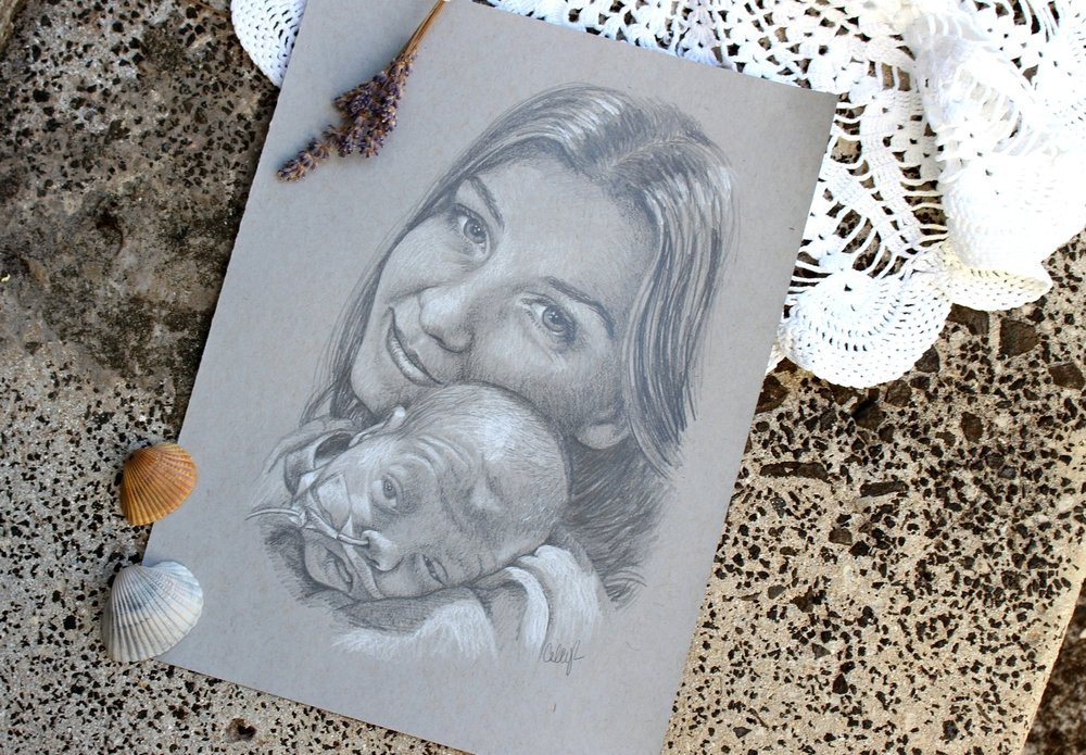 mom and baby custom portrait drawing