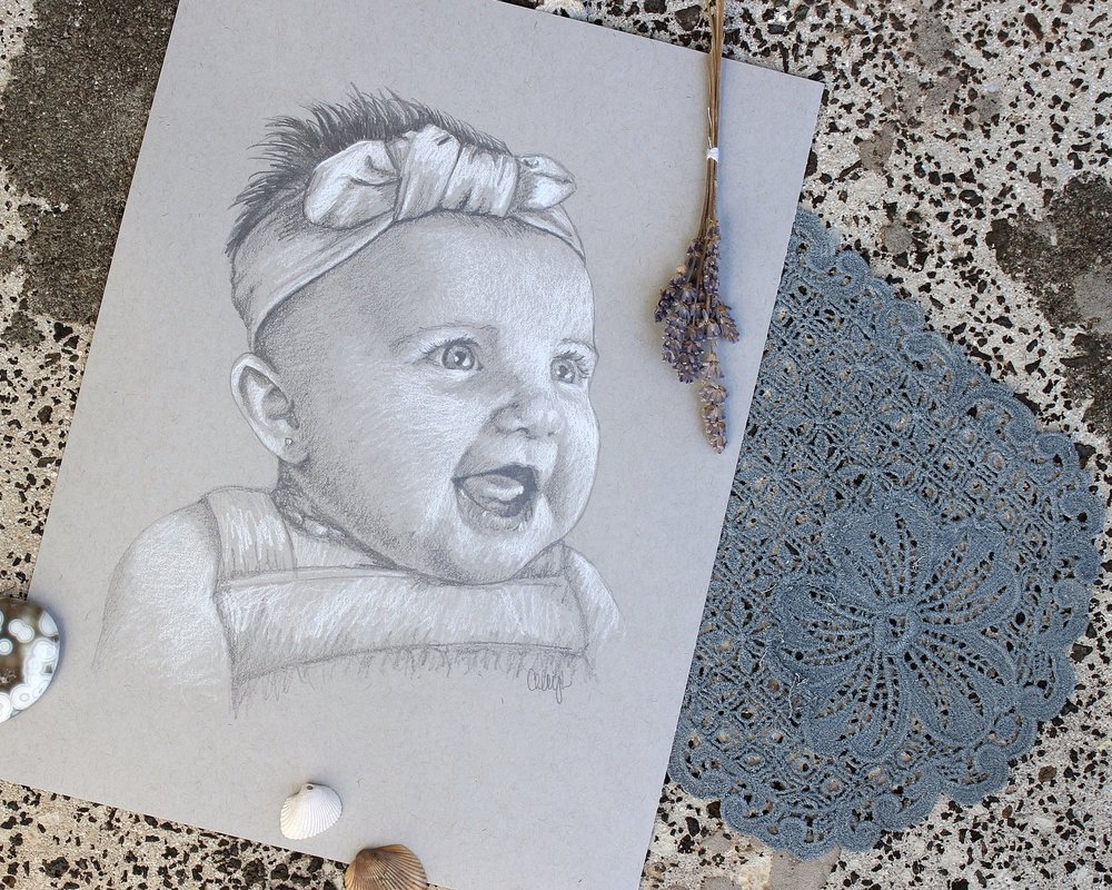 custom baby portrait in pencil